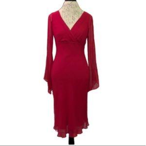 BCBGMaxAzria Red 100% Silk Dress Worn once